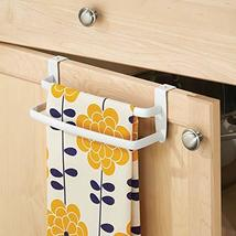 mDesign Metal Modern Kitchen Over Cabinet Double Towel Bar Rack - Hang on Inside image 3