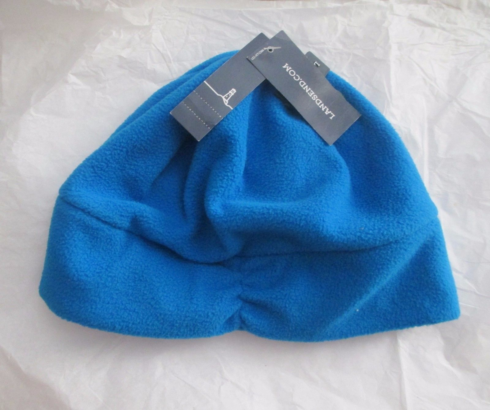 b6ac7abdc2966 Lands End Blue Fleece Beanie Skull Cap Hat and 50 similar items