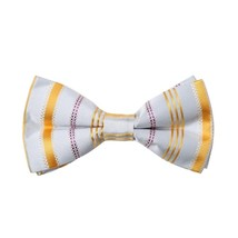 DBD7A08D Silver Gold Stripes Microfiber Mens Bow Tie Fitness Fabric Pre-... - $19.01