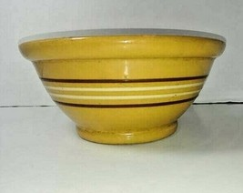 "Antique Yellow Ware Brown & White Stripe Mixing Bowl 9 1/4"" - $24.70"