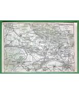 1907 MAP ORIGINAL Baedeker - PARIS St. Denis & Pontoise France - $5.07