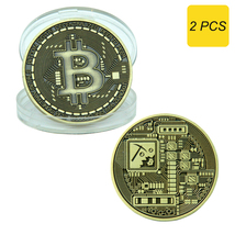 Bitcoin Commemorative Metal Collectors Coin in Protective Display Case 2... - $9.99