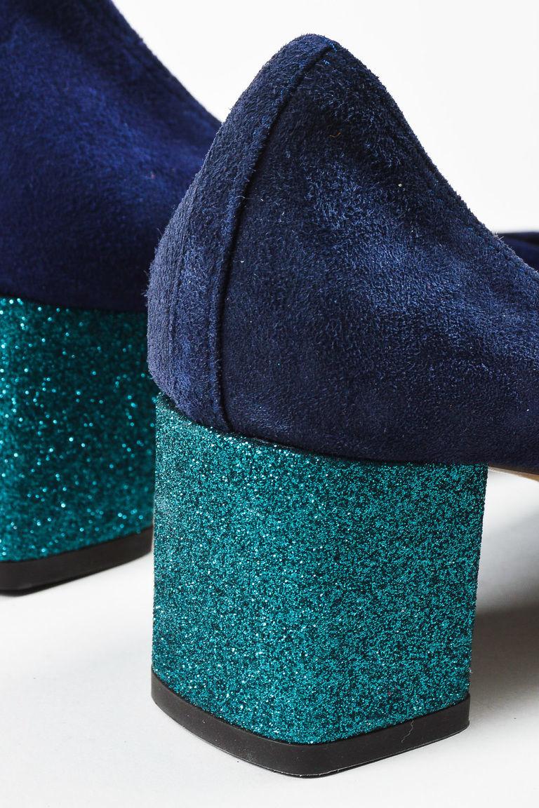 "Lanvin NWD ""Dark Blue"" Teal Suede Glitter Block Heel Ballerina Pump SZ 36.5"