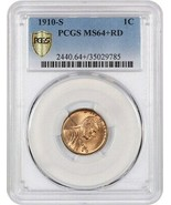 1910-S 1c PCGS MS64+ RD - Lincoln Cent - $402.55