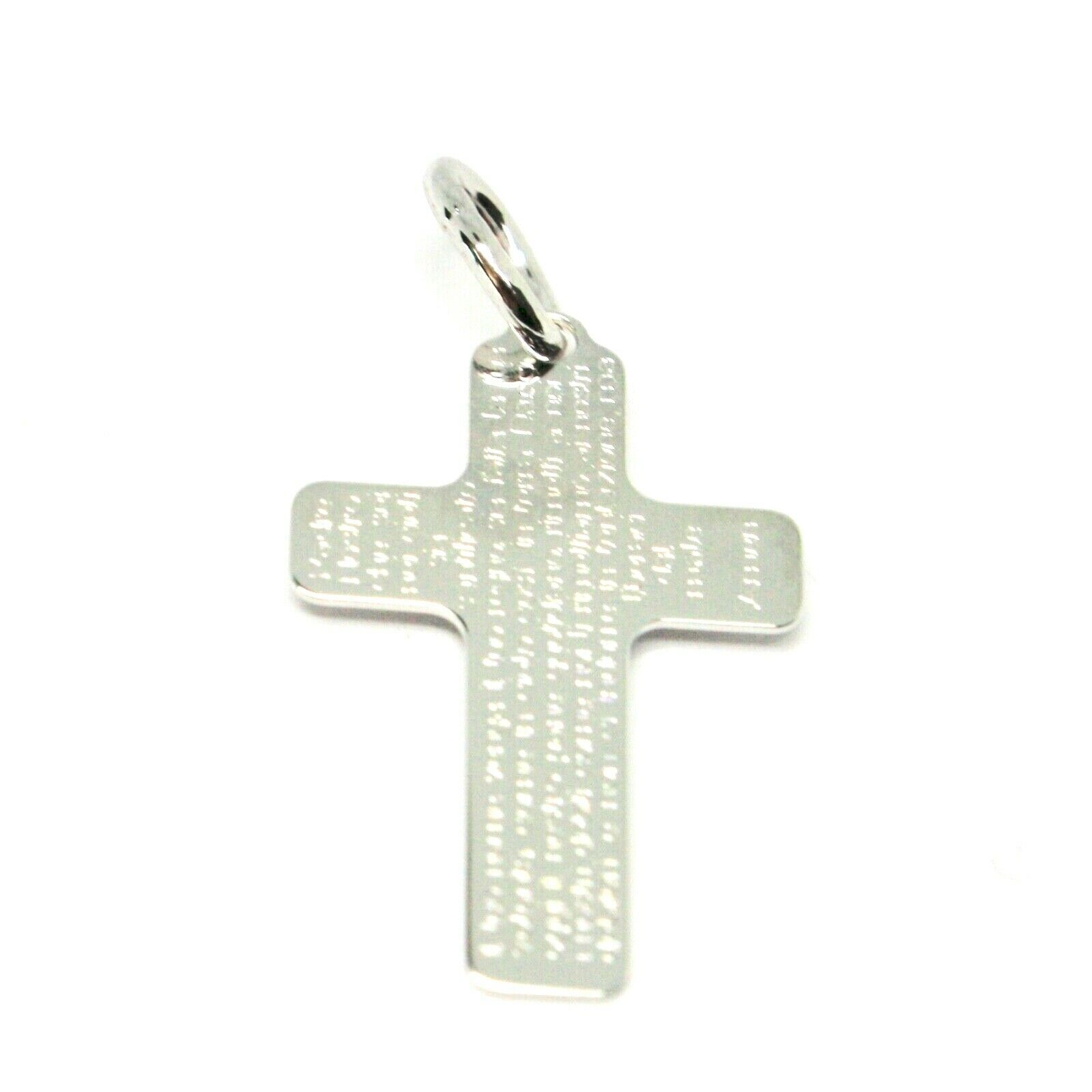 CROSS PENDANT WHITE GOLD 750 18K PRAYER OUR FATHER ENGRAVED MADE IN ITALY