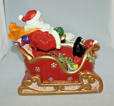 San Francisco Music Box Company Jolly Old St Nick Santa In Sleigh - $37.61