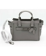 NWT COACH Swagger Gray Nubuck Pebble Leather Carryall Convertible Bag $5... - $295.00