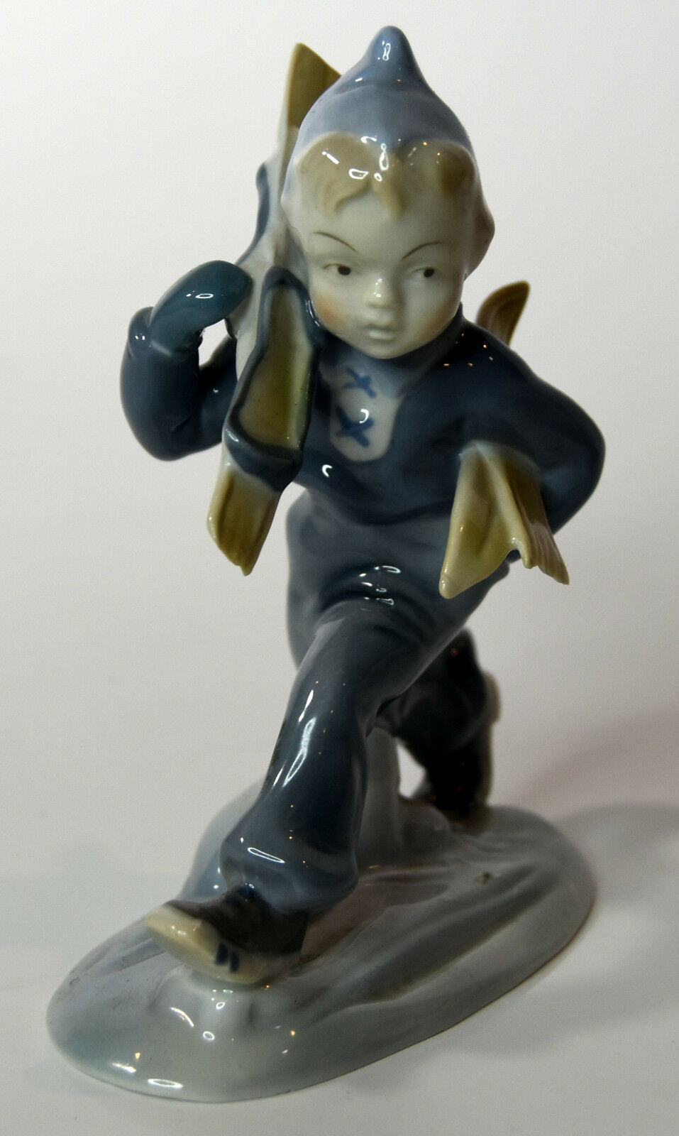 "5"" Vintage Metzler Ortloff Porcelain Statue Sky Boy Winter Decor"