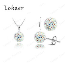 Jewelry Sets Crystal 10mm CZ Disco Pave Crystal Ball pendant lace+Stud e... - $6.99