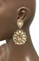 "3.25"" Long Cluster Clip On Earrings, Light Brown Rhinestones, Drag Queen... - $18.95"