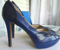 Gianni Bini Womens Classic Pump Stiletto Heels Shoes Blue Slip On Peep T... - $18.99