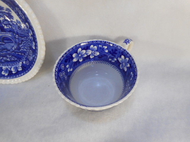 Vintage 1880's Spode Copeland England Flow Blue and White Teacup and Saucer