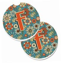 Caroline's Treasures Letter F Flowers Retro Blue Set of 2 Cup Holder Car... - $15.00