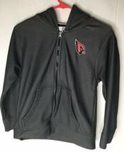 Youth Medium Arizona Cardinals Black Zippered Hoodie Hooded NFL Sweatshirt - $9.49