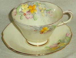 Paragon Cup & Saucer Wallflower Pattern Flowers Gold Trim England 1935 G3534 - $37.92