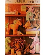 Vogue Craft Pattern 7760 Easy Animals For Baby Lion, Puppy, Bunny, Horse... - $14.84