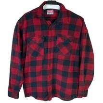 Wrangler Mens Red Black Plaid Collared Long Sleeve Button Down Shirt Siz... - $25.86