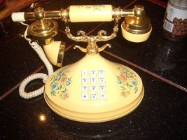Vintage ATC ORNATE FLOWERED AND BRASS FRENCH STYLE Push Button Desktop T... - $29.99