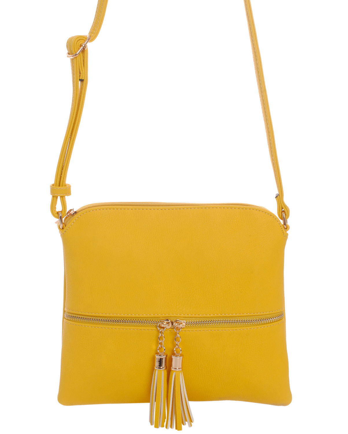 Fashion Solid Yellow Double Tassels Cross Body Messenger Bag Goldtone Tassel