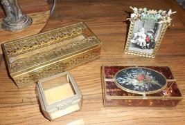 VTG Boudoir Vanity Stained Glass & Brass Trinket Box Tissue Holder & Ang... - $65.32