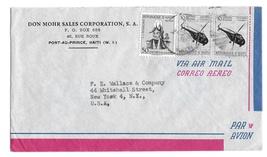 Haiti Air Mail Cover Port au Prince to US Sc# C95 Postal Tax Stamps RA23 - $4.99