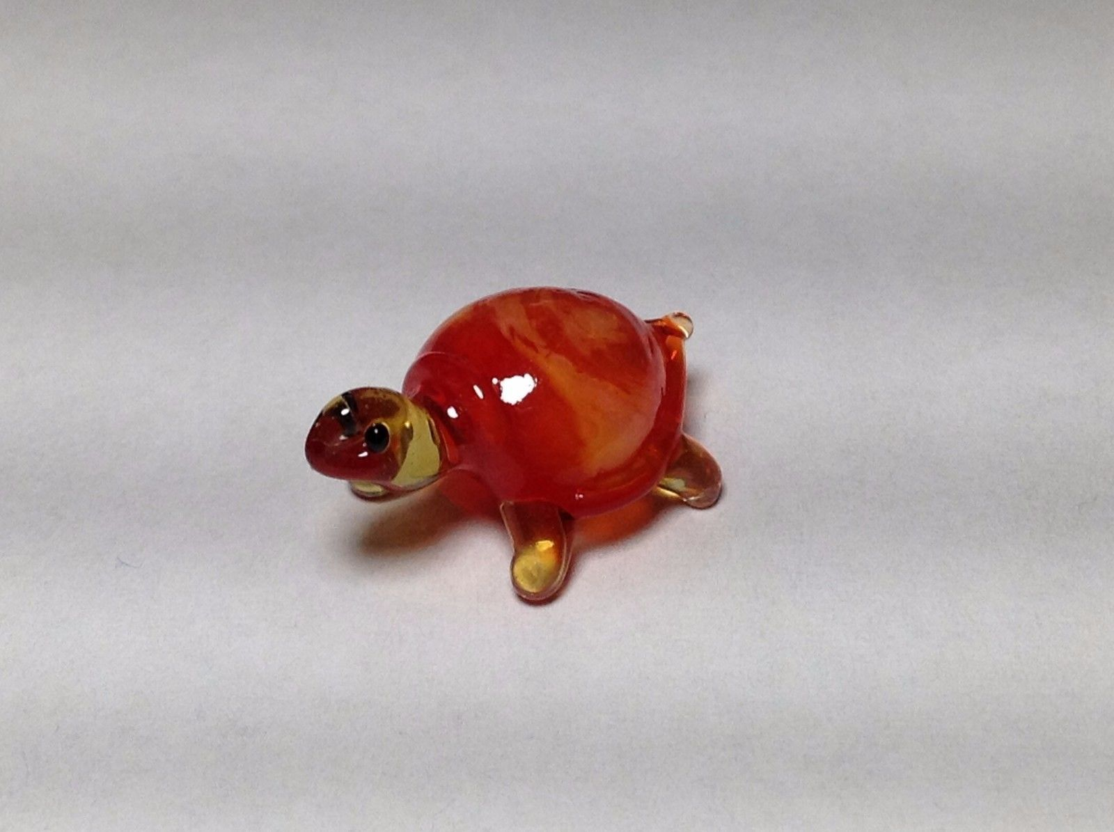 Miniature Glass orange yellow turtle Handmade Blown Glass Made USA