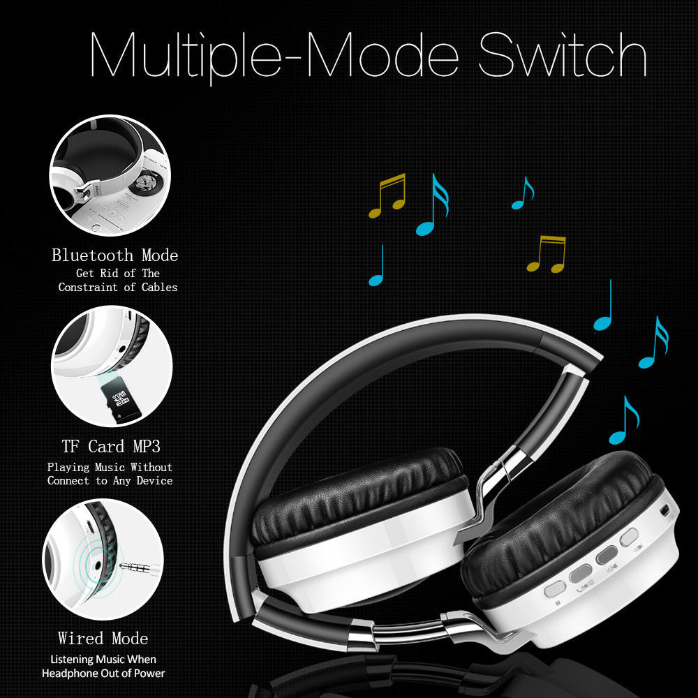 2019 Bluetooth Headphone Bass Wireless Headphones with MIC Light Support TF Card