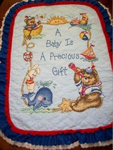 "Hand Quilted & X Stitched ""LITTLE SAILOR"" Baby Quilt Crib Cover add name - $179.99"