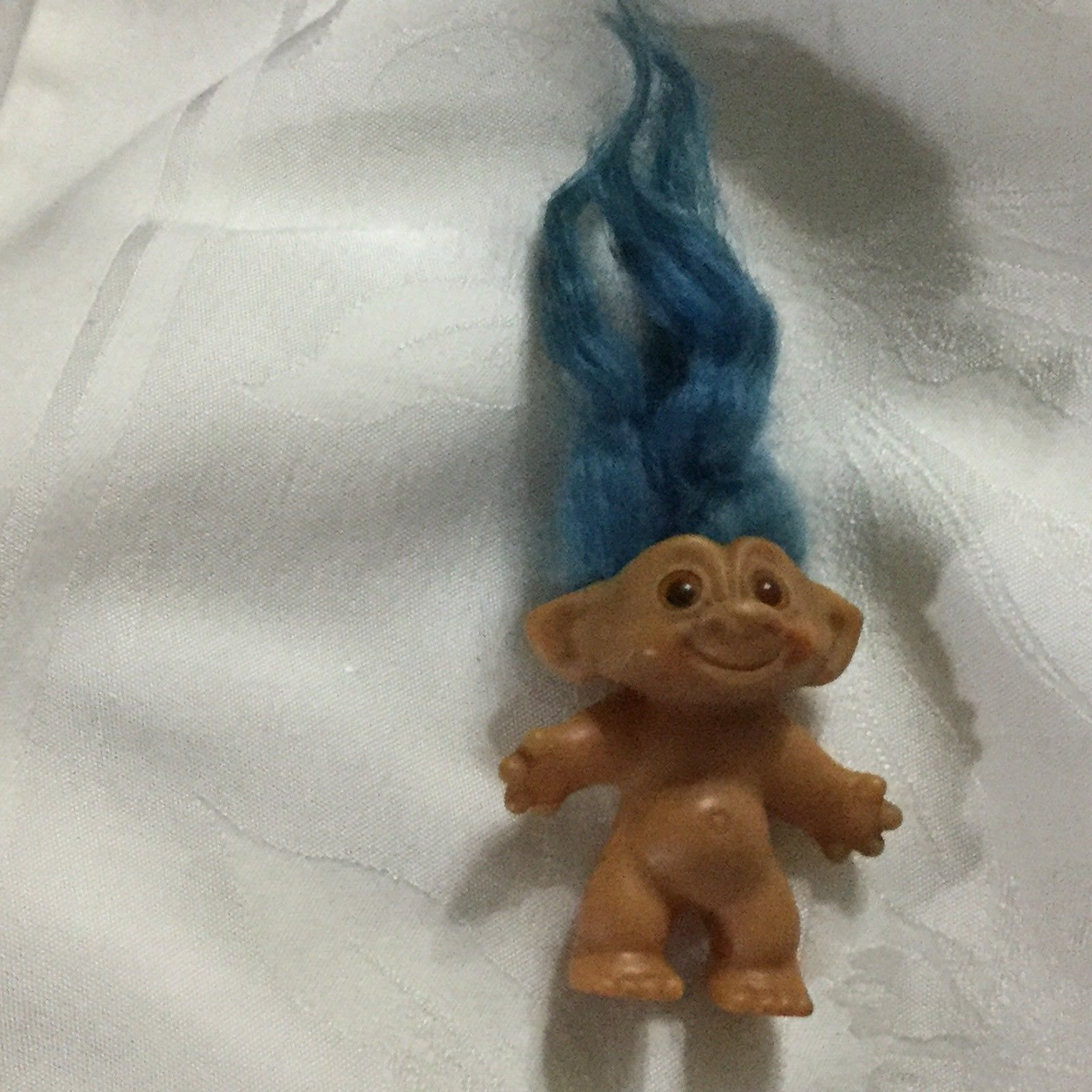 Early Vintage 1960's Blue Hair Wishnik Troll Toy Doll Figure Double Horseshoes