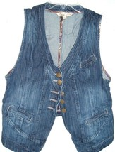 CAbi #347 Partridge Wash Denim Jean Vest Waistcoat Menswear Womens M - $19.77