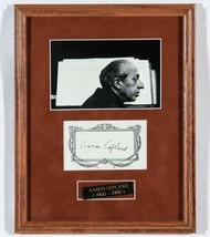 Aaron Copland Signed Autographed Bookplate 3x5 Card w/ Photo Composer FR... - $197.95