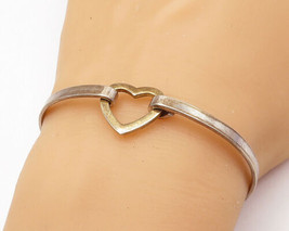 925 Sterling Silver - Vintage Two Tone Open Love Heart Bangle Bracelet -... - $37.36