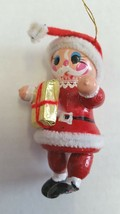 Santa Holding Gold Present Vintage Wooden Christmas Tree Ornament Red - $8.77