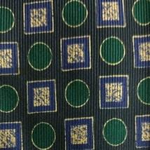 "Blue Green Geometric Foulard ZEGNA Silk Tie 4"" Wide 57"" Long - $15.60"