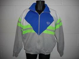 Vintage 80s 90s Neon Colorblock Slazenger Zip Up Tri-Blend Sweatshirt Ja... - $29.99