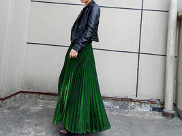 EMERALD GREEN A Line Long Pleated Skirt Womens Plus Size Full Pleated Skirts  image 1