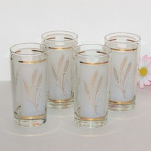 """VINTAGE HIGHBALL WATER GLASSES SET 4 GOLD WHEAT 5 5/8"""" DOMINION GLASS OF... - $9.99"""