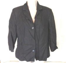 Talbots Blazer Irish Linen Jacket Career Women Size 8 Black Lined 3/4 Sl... - $24.74