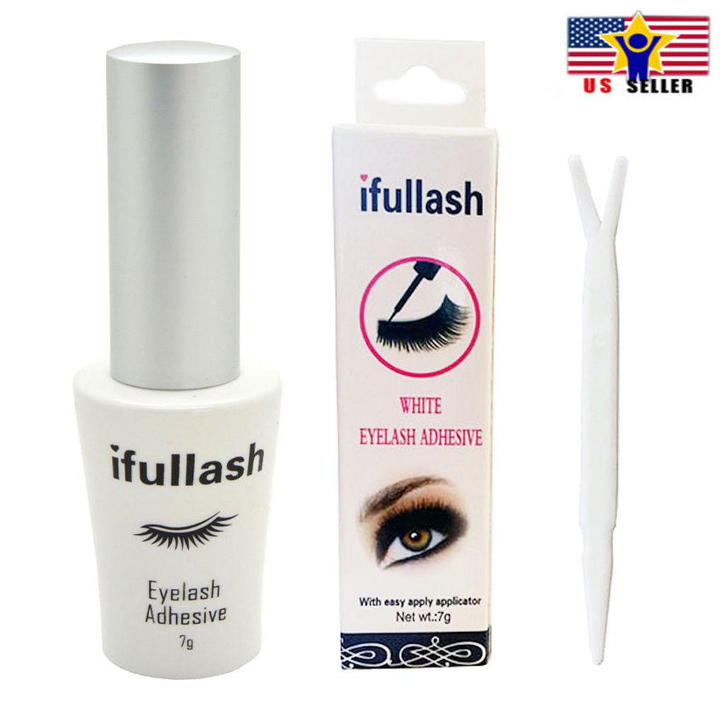 ifullash Waterproof Fake Eyelash Lash Adhesive glue in White Clear 7g Brush - $6.29