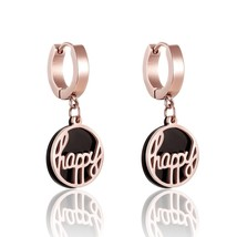 A Layer Of Black Circle Layer Rose Gold Color Happy Circle Drop Earrings... - $13.62