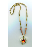 gold Angel wings necklace angel wings pendant red heart necklace square ... - $6.99