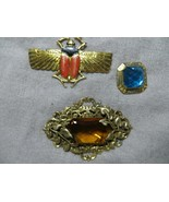 Victorian Czech 3 Brooche's Scarab/Floral Repousse/Ornate w/Glass Rhines... - $34.99
