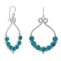 Polished Reconstituted Turquoise Outline and Bead Design French Wire Earri - $84.97
