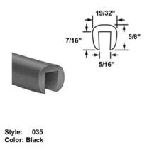 """Neoprene Rubber U-Channel Push-On Trim - Ht. 5/8"""" x Wd. 19/32"""" - Black - 25 ft - $157.66"""