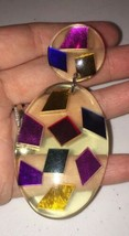 "Vintage Mod Laminated Vivid Colorful Lucite 3"" Long Dangle Earrings 1960s - $27.73"