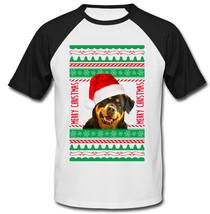 Rottweiler Real Ugly Christmas - New Cotton Baseball Tshirt - $26.49