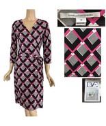DVF Diane Von Furstenberg Wrap Dress Julian Two Pink Black & White 10 - $198.00