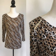 Dana Buchman 3/4 Sleeve Pullover Stretchy Pattern Top w Metal Accent Sho... - $14.01