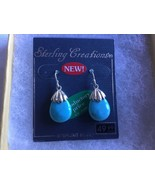 Sterling Silver Turquoise Earrings Tear Drop Dangle Hook - $21.77