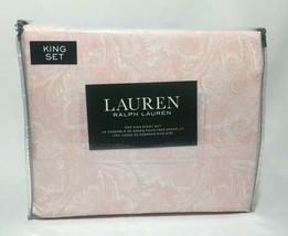 Ralph Lauren 300TC Dunham Sateen Orange King Paisley Sheet Set - $96.74